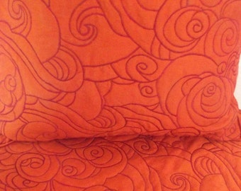 "Cotton orange ocean abstract waves pattern King size quilted bedspread with 2 pillows in size 114""x120"" and 20""X36"""