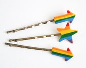 70s Rainbow Barrettes - Vintage Bobby Pins Peace and Pride vibes