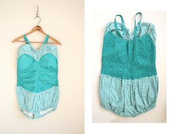 50s Pinstriped Swimsuit - Teal and White Stripe Playsuit - Ruched Swimsuit