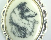 Vintage Altered Art of a Rough Coat Collie on a Cabochon in Silver-Tone Brooch