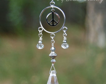 Peace Sign Prism Crystal Suncatcher, Rearview Mirror Car Charm, Window Decoration