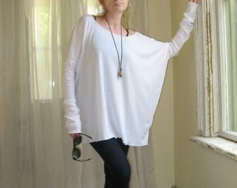 Boho Off Shoulder Sweater Plus Size Top OverSize Tee Long Sleeved Womens Tunic Boxy Top - White - XS - XL - Light Weight Rayon/Spandex