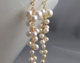 Bridal earrings, Wedding earrings, Pearl cluster earrings, Long cascading dangle, 14K gold filled, Swarovski white or ivory pearl