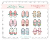 Baby Girl Shoes CLIP ART SET for personal and commercial use -pinks, corals, mint, turquoise, apricot, lavender