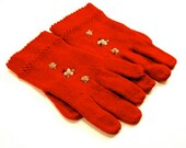 Vintage Gloves Cranberry Knit Red & White Wool Glass Beads