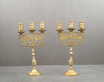Antique Lions Of Judea Sabbath Brass Candelabras