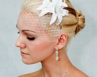 White Birdcage veil Blusher with white Lilium  - 2 items, made to order