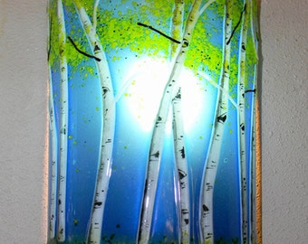 Aspen Grove Fused Glass Sconce-Sapphire Blue