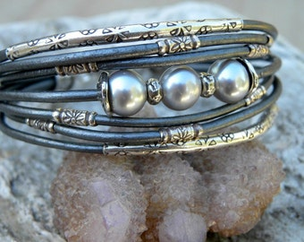 Gray Pearls Sterling Silver and  Metallic Gray Leather Cuff Bracelet Urban Modern
