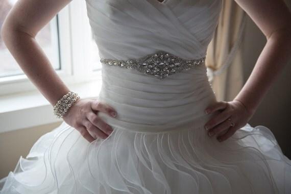 Clara Bridal Wedding Dress Crystal Beaded Sash Belt Under Bust Trim