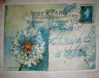 "Paris Flower Postcard Quilt Fabric Block 10"" LAST ONE"