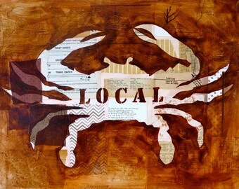 Local Crab Brown Silhouette Print 8x10