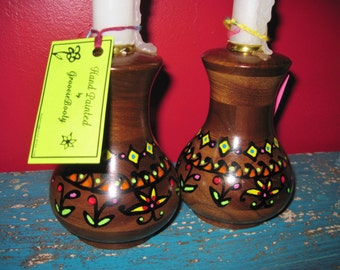 Vintage Wooden Candle Holders / Solid Walnut / Boho Chic / HandPainted / Candlestick / Wooden Candlestick / Home Decor / Painted Candlestick