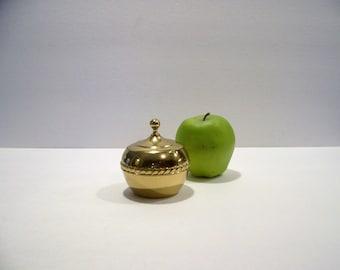 Vintage Brass Lidded Apple Dish Candy Dish Trinket Box