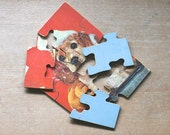 Wood Puzzle Puppy In Wash Tub Litho As Is