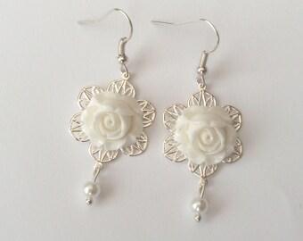White Rose Earrings, Pearl Earrings, Silver Earrings, White Earrings, Flower Earrings, Bridesmaid Earrings, Sterling Silver, Surgical Steel