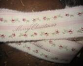 Hand Stamped Tea Dyed Pink rosebud Ticking Ribbon  Merry Christmas