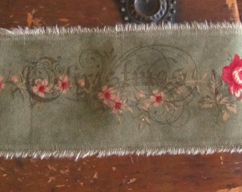Tattered Aged Christmas Rose Sage Wide Fabric Ribbon Hand Stamped  Christmas