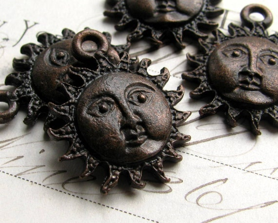 Sun face charm from Bad Girl Castings, 25mm, Boho charms, antiqued black pewter (4 charms) sunshine, spiritual healing, beach, oxidized