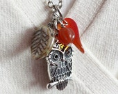 Silver Plated Owl Bead Necklace - C.99