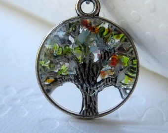 Tree Necklace, Stained Glass Tree, Magnifying Necklace, Tree Jewelry