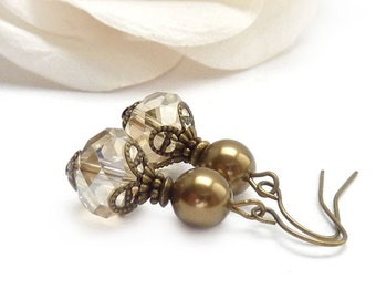 Bridal Earrings - Bronze Swarovski Glass Pearls - Champagne Crystal - Bridal Party Jewelry