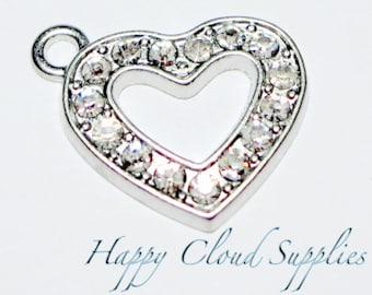Small Heart Outline Rhinestone Charms... 2pcs