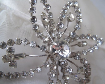 Vintage Rhinestone Snowflake Brooch Estate Jewelry