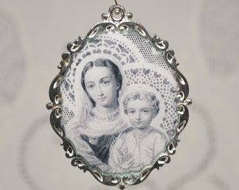 Mother and Child Religious Antique Prayer Card Print Pendant Large Ornate Oval Mother Mary
