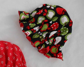 Reversible A is for Apple Alphabet Little Miss Muffet Hat, Black White Red Green Polka Dot, Ready to Ship 9 12 18 24 Months 2 3 4 5 6 7
