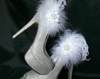 White Fluff Feather and Satin Organza Lace Pearl Glamorous Shoe Clips Bridal Wedding - Custom Made to Order