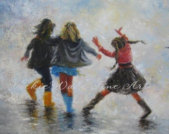 Three Sisters Art Print, three girls paintings, girls room wall art, girlfriends best friends, bridesmaids, three daughters, Vickie Wade art
