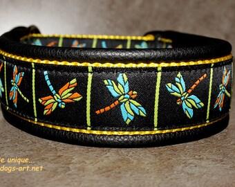 "Dog Collar ""Dragonfly"" by dogs-art, martingale collar, leather dog collar, dog collar, dragonfly, limited slip collar, boy dog collar"