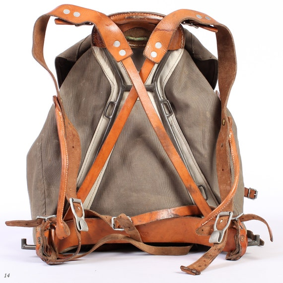 1930s backpack canvas rucksack external frame backpack military backpack from swedish army