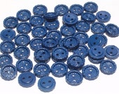 Blue Vintage Plastic Buttons 11mm Sewing Craft Buttons Set 45