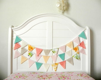Pink Aqua and Peach Fabric Bunting Garland 9 Feet / Vintage Carnival Birthday Decorations /  Party Decoration Idea / Mint to Be