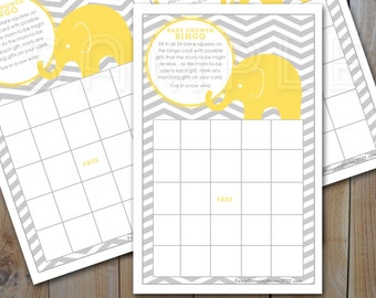 Elephant Baby Shower Bingo Game Card / Yellow Elephant, Grey Chevron  / Instant Download / PRINTABLE / Item 61038