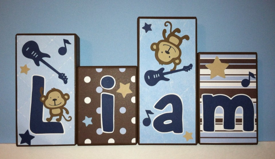 decor wood letters nursery - Monkey Bedroom Decor