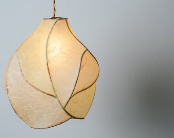 Pendant Light - Unique Sculputral Lighting - Paper Lantern - Copper and Paper Pendant Light in Cream and Pale Yellow - Farmhouse Decor
