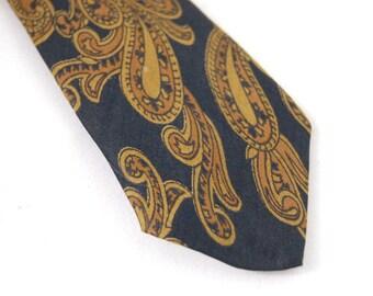 Skinny Mens Tie 1960s brown and black retro pattern vintage Paisley