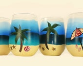 Hand Painted Stemless Beach Wine Glasses Set of 4 Resort Party Coastal Nautical Hostess Gift Idea Fun Beach Glasses Cocktail Glasses