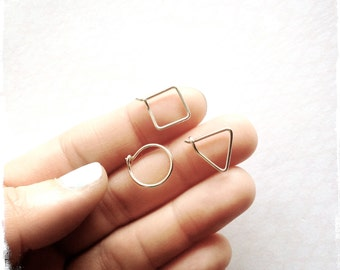 TINY HOOP COLLECTION - 3 pair - sterling silver - rose gold - 14k gold filled - modern hoops - small everyday earrings
