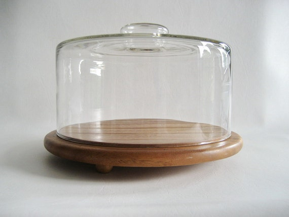 Glass Dome Cloche Wood Cake Stand Salad Bowl By Uppnortheh