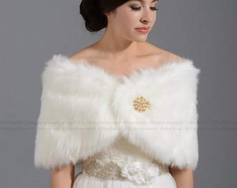 Ivory faux fur bridal wrap shrug stole shawl cape FW005-Ivory regular / plus size
