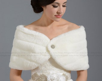 Ivory faux fur wrap bridal shrug stole shawl FW001-Ivory regular / plus size