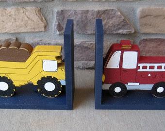 Dump Truck and Fire Truck bookends for children library, bookshelf