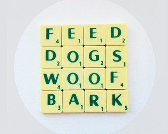 Dogs Woof coaster, dog themed, novelty drinks mat, upcycled scrabble tiles, cork backed