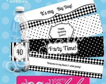 INSTANT DOWNLOAD Editable PDF Black & White Party Water Bottle / Drink Labels - 5  Designs - DoodleLulu by 2 june bugs