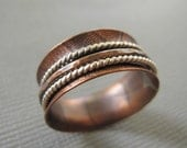 Copper Spinner Ring Sterling Silver Fidget Ring Custom Size