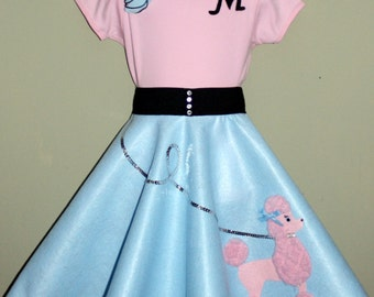 New Glrls Size Large 3pc Baby blue and Pink Patty poodle skirt outfit